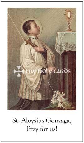 Aloysius Gonzaga Catholic Prayer Cards Funeral